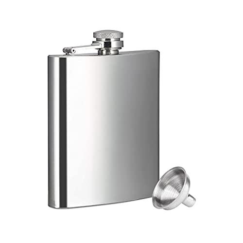 FEMONGY Flachmann, flachmann edelstahl, flachmann set, Aus Edelstahl, langlebig, Sanitär und praktisch, kann verwendet werden, um Whisky zu halten, Wasser (240ml, 93mm x 22mm x 151mm, 1 Stück)