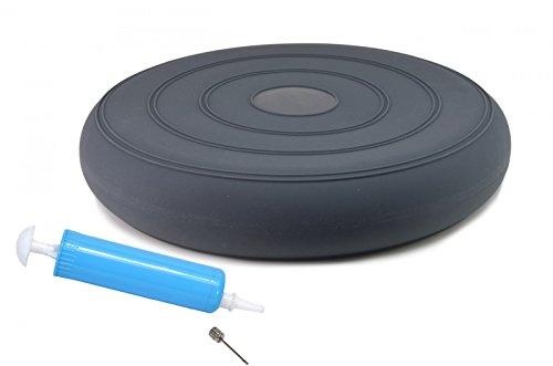 bonsport Sitzkissen ohne Noppen inkl. Pumpe 36 cm anthrazit/Luftkissen in Premium Qualität/Balancekissen für Fitness, Reha oder Physio