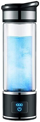 Clear4World - Botella de agua rica en hidrógeno de 350 ml, portátil USB recargable ionizado generador de agua anti envejecimiento taza de cristal antioxidante