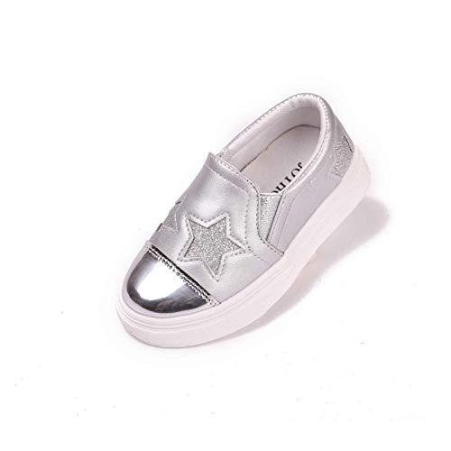 Youpin 2021 - Zapatos de piel para niños y niñas, cómodos zapatos informales, zapatos de princesa (color: plateado, talla de zapato: 3)