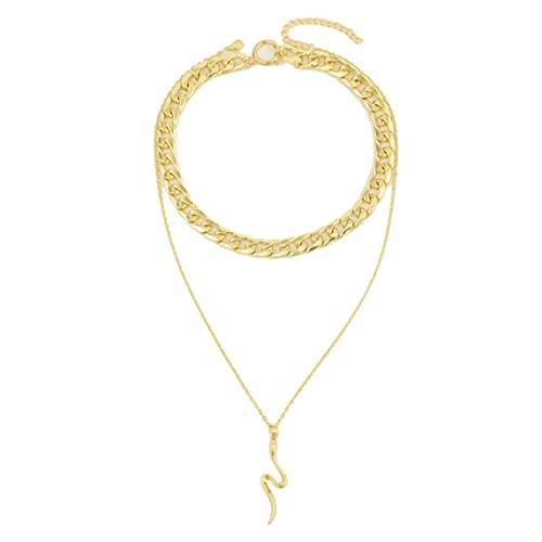 Petrichori Collar de Serpiente Animal exagerado Colgante de Serpiente Punk Multicapa Collar de Hueso de Serpiente joyería para Mujeres niñas - Oro