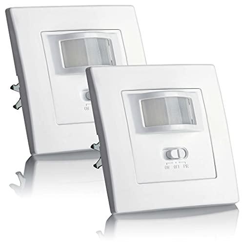 SEBSON® Bewegungsmelder Innen Unterputz - 2er Set - LED geeignet, Wand Montage, IR Sensor programmierbar, UP Dosen 60mm, Hohlraumdose 68mm, Reichweite 9m/160°, 3-Draht