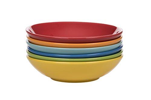 Kaleidos Classique Set de 6 Assiettes Creuses, grès (céramique), Jaune/Vert/Bleu/Bleu Clair/Orange/Rouge, 21 x 21 x 10 cm