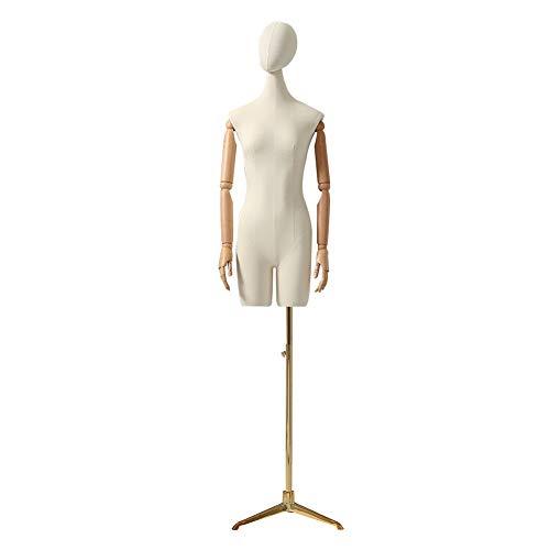 HAIPENG Maniquí De Costura Busto Hembra Torso Cuerpo con Dorado Trípode por Ropa Vestido Joyería Monitor Ajustable Altura (Color : B)