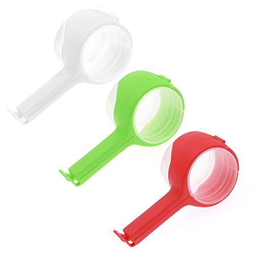 Food Bags Clips Bag Sealing Clips with Discharge Nozzle Plastic Bag Moisture Sealing Clamp Food Saver Kitchen Snack Tool 3pcs