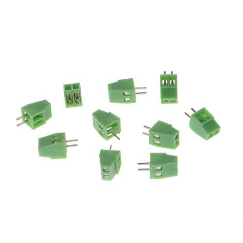 JOYKK 10 Stücke 2Pin Schraube Leiterplattenmontierte Anschlussblöcke Connector 2.54mm Pitch - Green