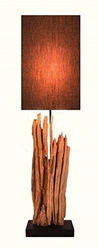 Lampe de table design XL en bois flotté (foncé)