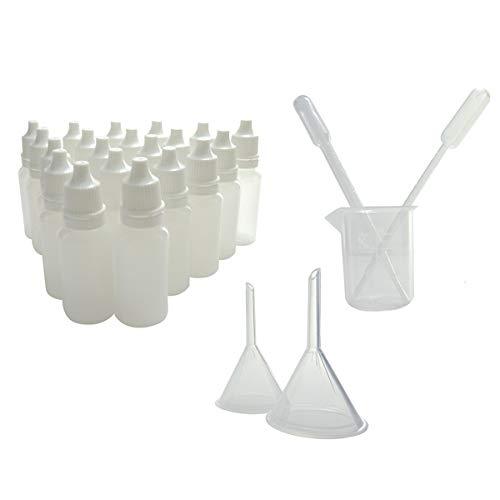 KENZIUM - Pack de 20 Frascos Cuentagotas de 15 ml + 1 Vaso Dosificador + 2 Embudos + 2 Pipetas de Laboratorio