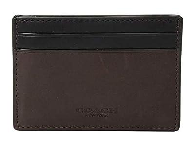 COACH Men's Sport Calf Leather Money Clip Card Case Mahogany One Size