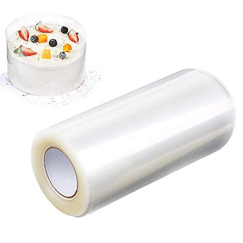 Heatigo Tortenrandfolie, 15cm x 10m Transparent Rolle Kuchen Halsbänder, Umlaufende Tortenfolie Rolle Verpackung Blatt Dekor für Tortendekorationen Mousse Kuchen