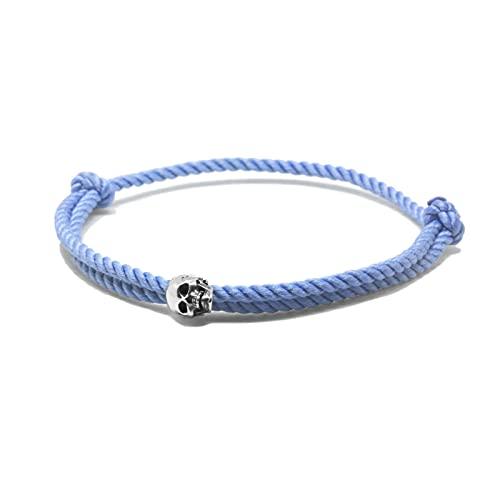 Nato Cuff - Pulsera de plata de ley con diseño de calavera, cordón de seda milanesa azul - Hecho a mano en Francia para hombre y mujer