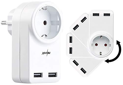 revolt USB Stromstecker: Steckdose mit 360° drehbarem Doppel-USB-Netzteil, 3,4 A / 17 Watt (USB Zwischenstecker)
