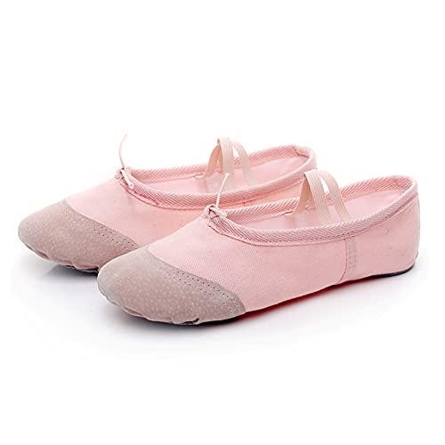 AGYE Scarpe da Danza, Ballerine per Ragazze,Pantofole da Ballo Scarpe da Ginnastica per Ginnastica in Tela Suola Divisa per Bambini e Adulti,Pink-38