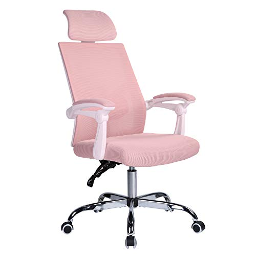 Qulomvs Mesh Ergonomic Office Chair with Headrest and Backrest Adjustable Computer Executive Desk Chair with Wheels 360 Swivel Task Chair (Pink)