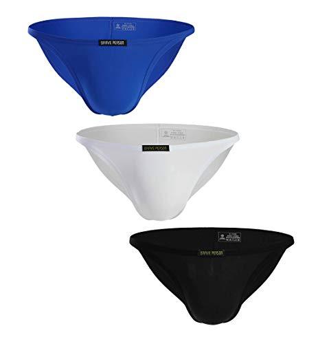 BRAVE PERSON Low Waist Bikini Swimwear Men's Comfortable Fashion Underwear Briefs B1133 (L, Blue/White/Black)