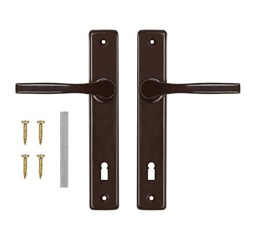 ADGO Juego de manillas de puerta para cerradura de cerrojo 90, izquierda y derecha, picaporte de aluminio galvanizado, un mango estrecho para un plato largo pintado (marrón)