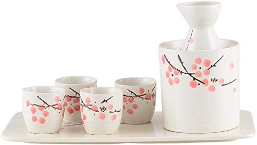 AMYZ Paquete de 7 Juegos de Sake japonés,Flor Rosa,con 1 Botella para Servir de Sake,4 Tazas de Sake,1 Olla para Calentar Vino y 1 Bandeja - Cerámica para Tazas de Sake de Regalo