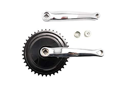 Fahrrad Antrieb Kurbel Kettenrad Garnitur 1 Fach 38 Zähne 170mm schwarz/Silber