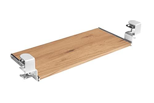 FIX&EASY Guías abrazable con bandeja 800X400mm tono duramen haya, abrazaderas altura ajustable blanco, corredera extraible galvanizado 400mm con bloqueo, set cajón con rieles para teclado ratón laptop