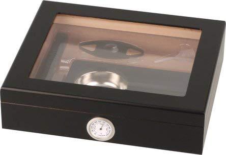 kogu Humidor Set schwarz, zum Lagern von ca. 15 Zigarren, inklusive Acrylpolymer-Befeuchter, Abschneider, Aschenbecher und Hygrometer