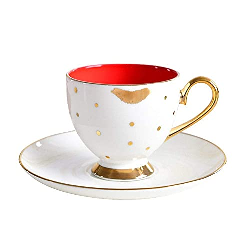 JHGF Taza de café Set Bone China Color Glaze con Gold Rim Cup y platillo Hogar Pequeña capacidad Máquina de café Accesorios Oficina Latte Espresso Coffee Cup 200ml 2PCS (Blanco)