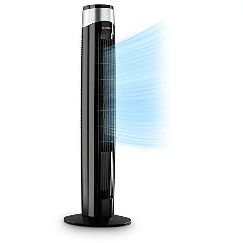 KLARSTEIN Storm Tower - Ventilador, 55 W, caudal de 252 m³/h, 3 Modos, 6 Niveles de Intensidad, Pantalla LED, programable, Carcasa con asa, Control táctil, oscilación hasta 80°, Negro