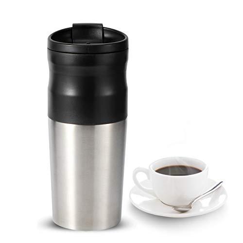 Molinillo de café eléctrico, molinillo de granos de café de acero inoxidable 3 en 1, filtro de preparación de café, taza de vacío de café, cafetera portátil de 427 ml para café, granos