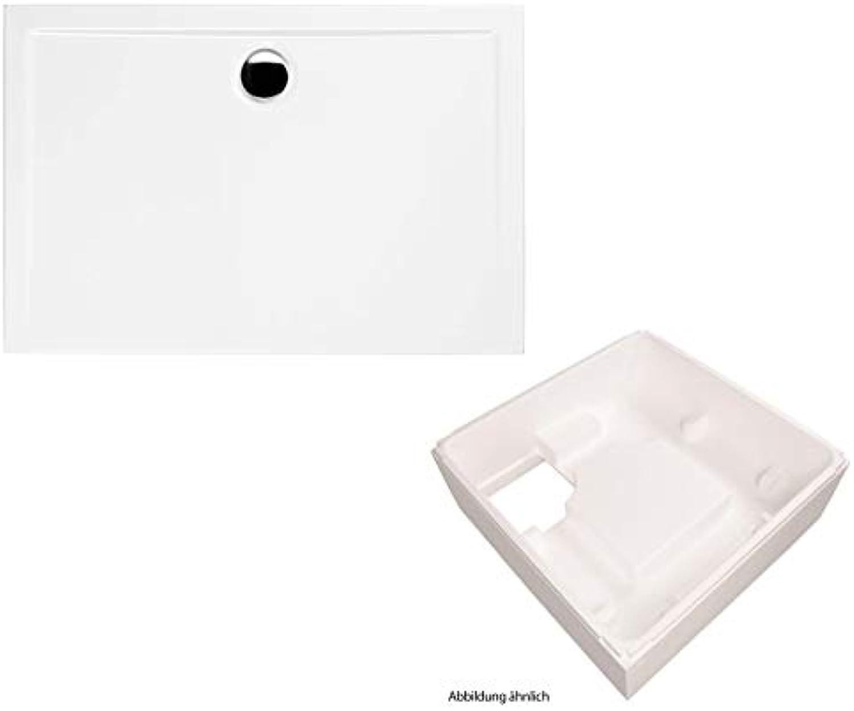 Calmwaters - Amrum - Flache Rechteck-Duschwanne in 120 x 80 x 2,5 cm aus Acryl im Set mit Wannentrger - 99000122
