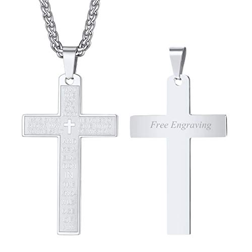Simple Cross Necklace Engraved with Bible Ephesians 1:17 Pray Words, Christian Jewelry for Boys and Girls, Stainless Steel Box Chain Religious Pendant, Back Side Message Engrave Service