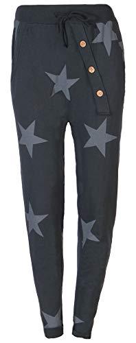 Eitex Damen Jogginghose Sweatpants mit Sternen Anker Camouflage und Uni Farben (38/40, Stern grau)