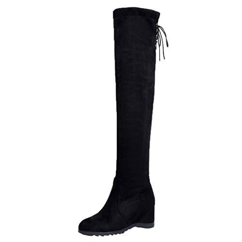 Posional Hohe Damen-Biker-Stiefel aus Synthetik-Material, hohe Knie, modisch, für Frauen, Plattform, elastisch, Stiefel, Beige 38