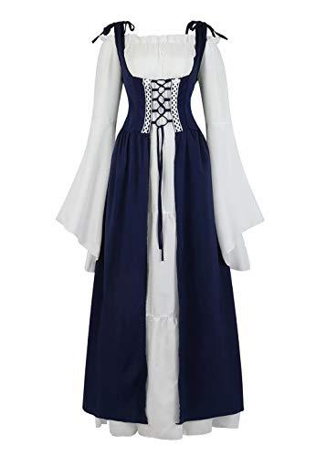 renacentista Vestido Medieval Mujer Vintage Victoriano gotico Manga Larga de Llamarada Disfraz Princesa Azul S