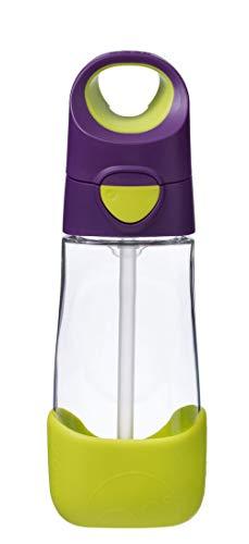 b.box Tritan Drink Bottle I 15 Ounce I Unique Ergonomic Triangular Shape I Spill-Proof I Dishwasher Safe I BPA-Free I Phthalates & PVC Free I Carry Handle I Color: Passion Splash, Purple