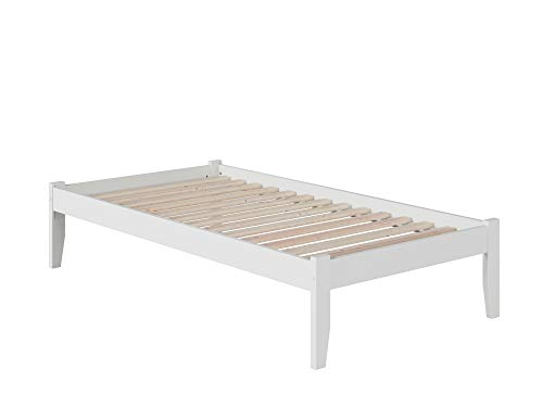 Atlantic Furniture Concord Platform Bed with Open Foot Board, Twin, White