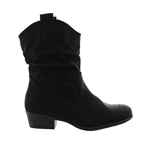 JUMEX Damen Cowboy Stiefeletten Western Stiefel Boots Schlupfstiefel Schuhe 36 (39, Schwarz)