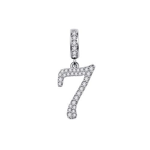 GNOCE Abalorio con número de plata de ley 925, compatible con pulseras y collares, mujeres, hombres y niñas
