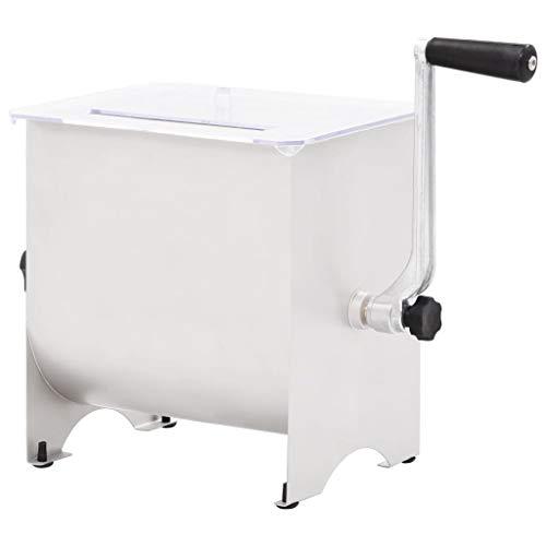 Licuadora de Carne Manual 20 L Amasadora/Batidora/Picadora/Mezcladora de Carne con Tapa Transparente...