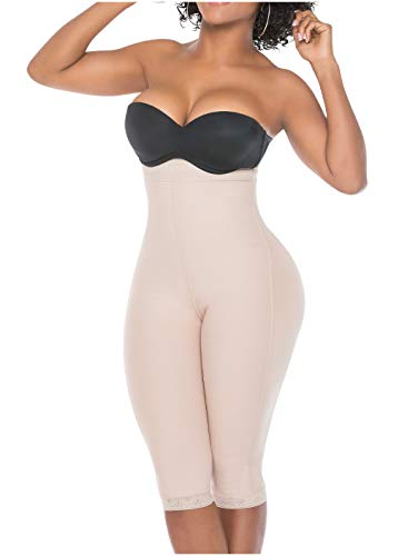 Salome 0219 Fajas Colombianas Levanta Pompis para Mujer Butt Lifter Shapewear for Women Compression Shaper BBL Shorts Beige XL