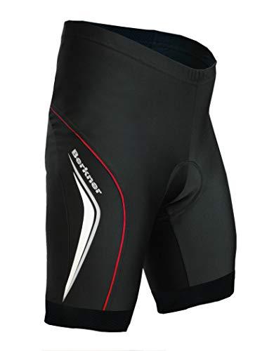 Berkner - Pantaloni da ciclismo modello Derek, taglie dalla S alla 5XL (taglie forti) (nero/rosso, 5XL)