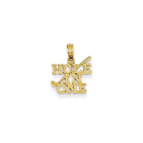 Collar con colgante de oro amarillo de 14 quilates con agujero pulido macizo en uno, con colgante de club de golf, mide 15,6 x 13,1 mm, joyería regalo para mujer