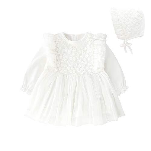 ベビー服 チュールスカート長袖ワンピース女の子春秋カバーオール赤ちゃんフリル贈り物出産祝いホワイト3M