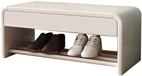 A-Generic Zapatero Sabinet Zapatos Cambiador de Madera Maciza Simple y Moderno Banco de Sala con cajón de Almacenamiento 1 Capacidad de Carga de la Capa 150 kg-60 cm / 23 en_Blanco