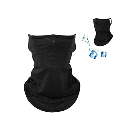 ILamourCar Ice Silk Neck Gaiter, Ear Hanging Face Mask with Earloop UV Protection Bandanas Breathable Multifunctional Headwear Balaclava for Fishing Hiking Sports Men and Women- Black