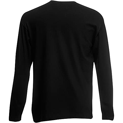 Fruit of the Loom - Camiseta Básica de Manga Larga para Hombre - Calidad/Precio (3XL) (Negro)