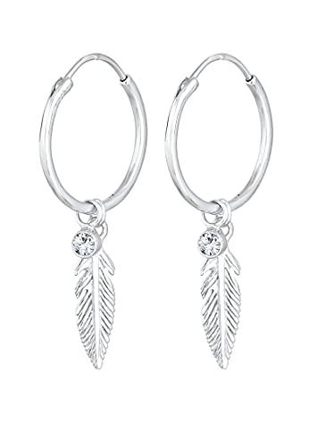 Elli Pendientes para mujer con elegantes cristales en plata de ley 925