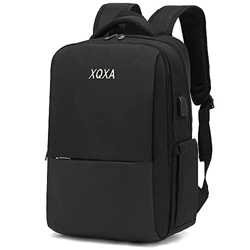XQXA Zaino per laptop, zaino per laptop da 15,6 pollici, zaino da uomo con caricatore USB, zaino da lavoro da uomo per gite scolastiche, nero