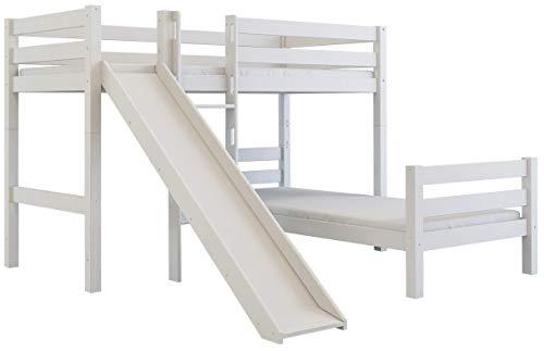 Furnneo stapelbed 90x200 L vorm, kinderbed, hoogslaper van massief beukenhout, incl. lattenbodem 90x200 cm, deelbaar 90 x 200 cm wit