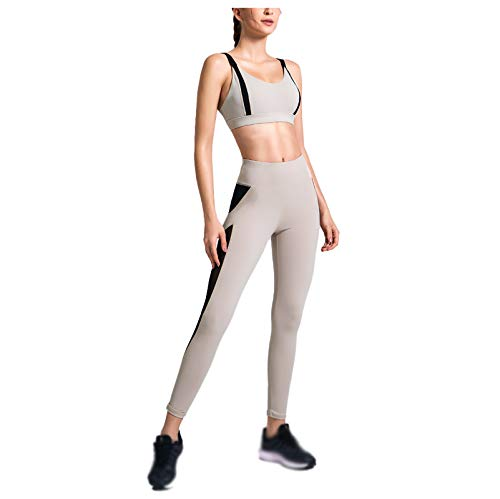 Women's Yoga Wear Fitness Training Wear Spring and Summer Sports Bra + High Waist Hip Pants Apricot-XL
