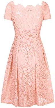 MEGASHOPPING Women s Off Shoulder Retro Floral Lace Slim Evening Cocktail Mini Dress Pink M product image