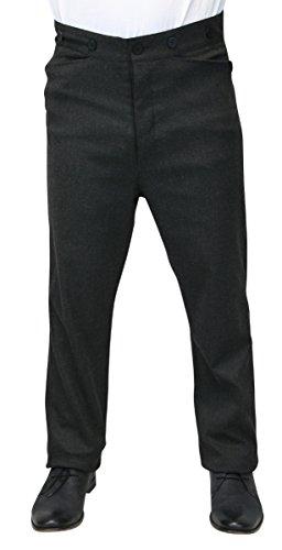 Historical Emporium Men's High Waist Callahan Cotton Blend Dress Trousers 46 Charcoal